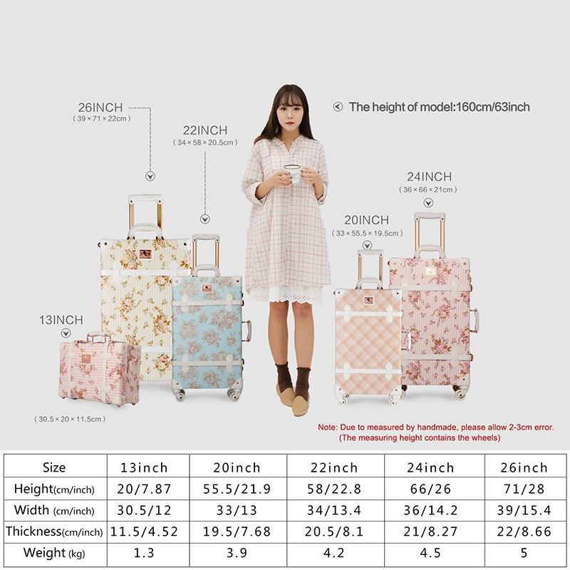 Uniwalker 2 unids/set vintage floral pu equipaje de viaje, 13 \
