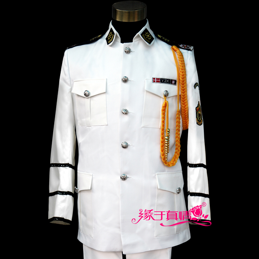 Slim fit Sequins singer suits master ceremonies hosted stage Costumes jacket pant best man mens suit Naval battle band coat