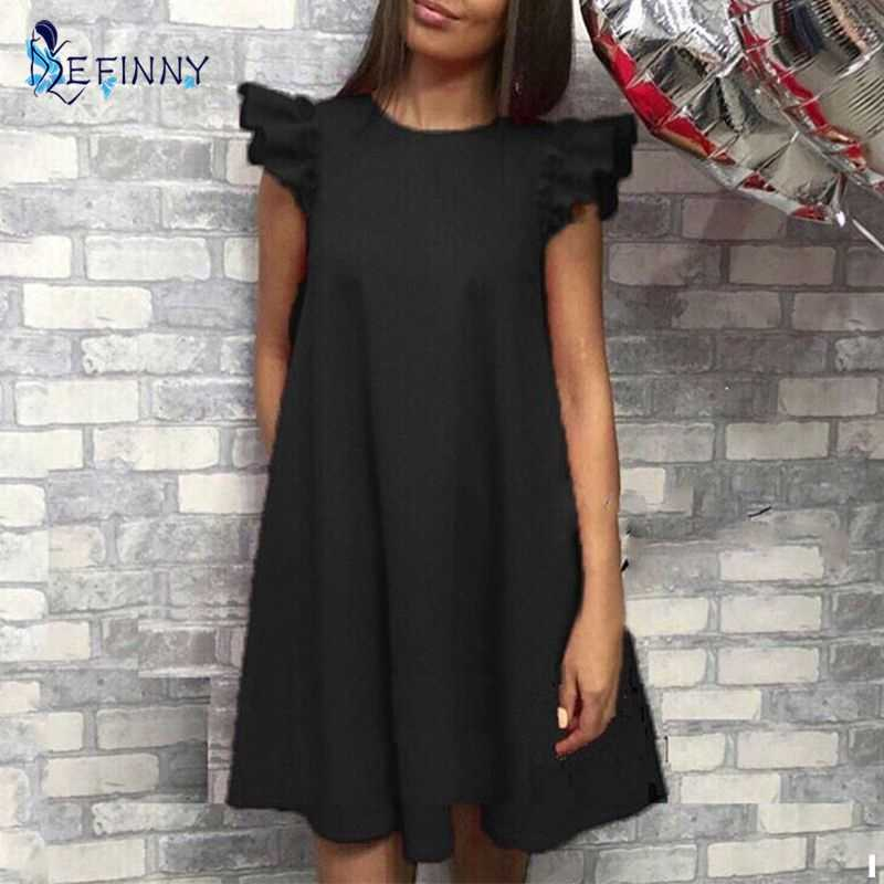 EFINNY Women Ruffle shoulder summer dress Vintage A-Line Loose short dresses Female Vestidos