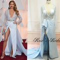 Actual Image Celebrity Dresses Deep V Neck Long Transparent Sleeve Satin Side Slit Ruffle Sashes Light Blue Red Carpet Dresses