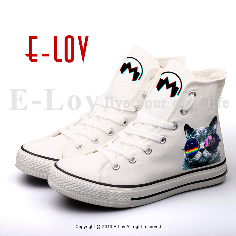 E-LOV Hip Hop DJ Cat Printed Canvas Shoes Customized High Top Unisex Street Style Flat Shoe Rock And Roll Espadrilles printed assassins creed canvas shoes fashion design hip hop streetwear unisex casual shoes graffiti women flat shoe sapatos