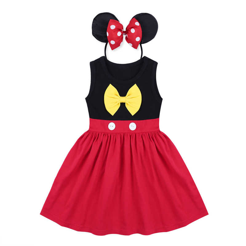 6a27b00f6 2pcs Set Baby Kid Girls Cake Smash Outfit Minnie Mouse Dress Headband  Birthday Party Mickey Mouse