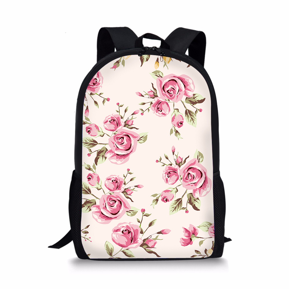 Pink Flower Children School Bags For Girls Cute Retro Floral 3d Primary Schoolbag Kids Schoolbags Backpack Students Book Bagpack