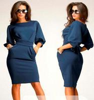 2015 Hot Selling Summer Vestidos Women Working Dresses With Puff Sleeve O Neck Knee Length Office