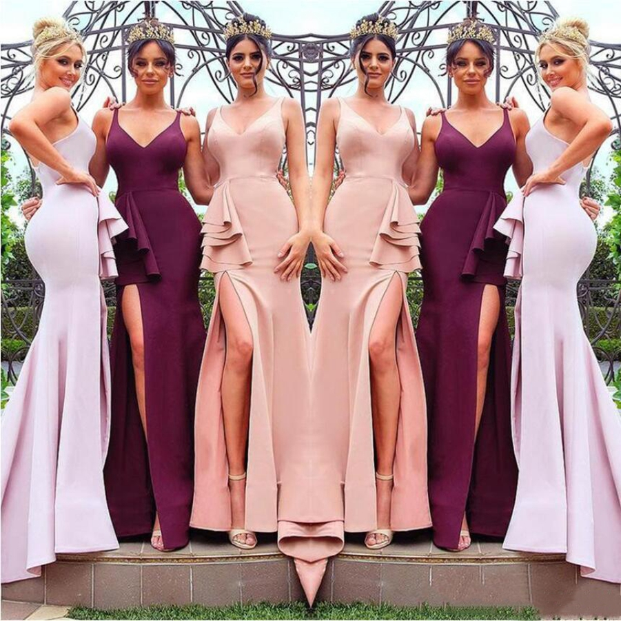 Bridesmaid     Dresses   2019 Blush Pink Long   Bridesmaid     Dresses   V Neck Front Split Mermaid Maid of Honor Gown Burgundy Floor Length