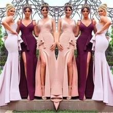 Bridesmaid Dresses 2020 Blush Pink Long Bridesmaid Dresses V Neck Front Split Mermaid Maid of Honor Gown Burgundy Floor Length