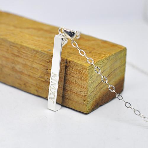 Prata 3D Vertical Bar pingente Roman Numberal gravação data de memória jóias, Lembrança