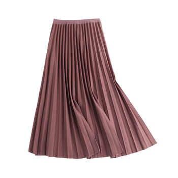 2020 New Spring Summer Solid Color Large Pendulum Long Pleated Skirt Korean A-Line Elastic Waist tutu Skirt Women Maxi Skirts - DISCOUNT ITEM  21 OFF Women\'s Clothing