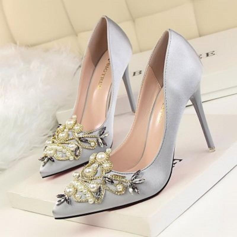 Rhinestone Wedding Heels: High Heels 2018 Bridal White Wedding Shoes Rhinestone