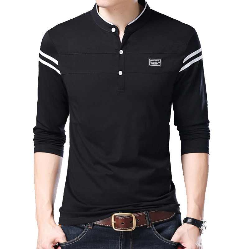 3010f154da5 Liseaven hombres camiseta hombre Camiseta de manga larga hombres ropa de  mandarina cuello camisetas Tops y