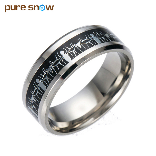 Spiderman Animation Movie Games Black Blue Carbon Fiber Ring Anniversary Gifts Tail Women Stainless