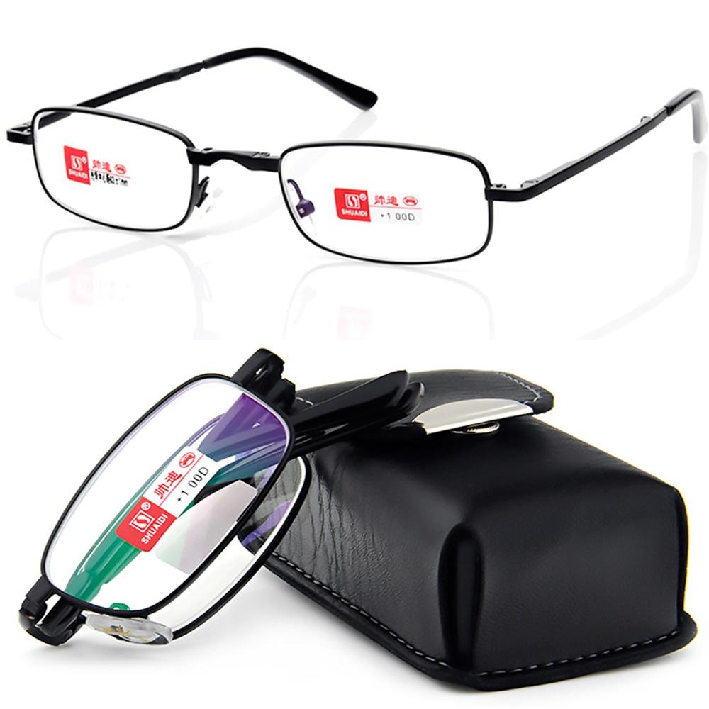 Carcasă SHUAIDI PU BLACK BELT PORTABLE îmbrăcăminte pliabilă nobilă antireflexie acoperită cu ochelari de citire + 1.0 +1.5 +2.0 +2.5 +3.0 + 3.5 + 4.0