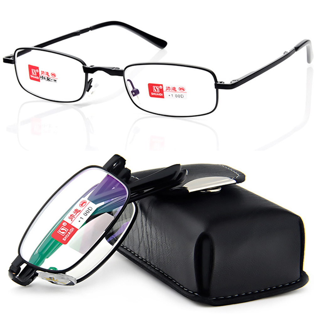 SHUAIDI PU case BLACK BELT PORTABLE طوي نبيلة ارتداء المضادة للانعكاس نظارات القراءة المغلفة + 1.0 +1.5 +2.0 +2.5 +3.0 + 3.5 + 4.0