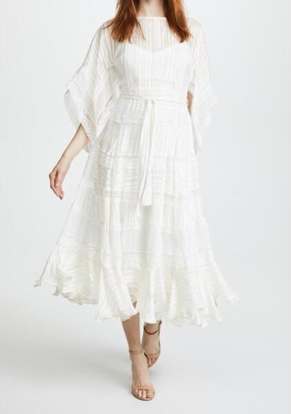 Dentelle Manches Couture Robe Voile Whitewave 2018ss longueur Midi Ceinture Cravates Demi O Blanc Taille cou Kimono vvTR7gq