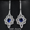 Super Luxury Rhodium Plated Full Micro Pave Blue Cubic Zircon European Women Long Earrings For Wedding Party CZ310