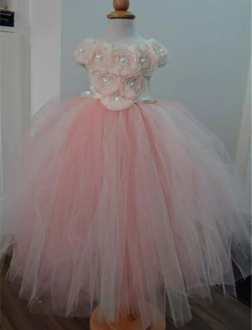 New Pink Girls Fluffy Dresses Ball Gown Pearls Flower Girls Dresses Pageant Gown Custom Any Size 4pcs new for ball uff bes m18mg noc80b s04g