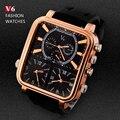2016 Esportes dos homens Relógios Homens Marca De Luxo Múltipla Fuso Horário Militar Relógios Negócios Masculino Relógio Quadrado Relógio de Quartzo Analógico