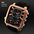 2016 Men's Sports Watches Men Luxury Brand Multiple Time Zone Military Watches Male Business Square Clock Analog Quartz Watch