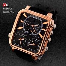 2016 Deportes de Los Hombres Relojes Hombres Marca de Lujo Zona Horaria Múltiple Relojes Militar Negocios Masculino Reloj Cuadrado Reloj de Cuarzo Analógico