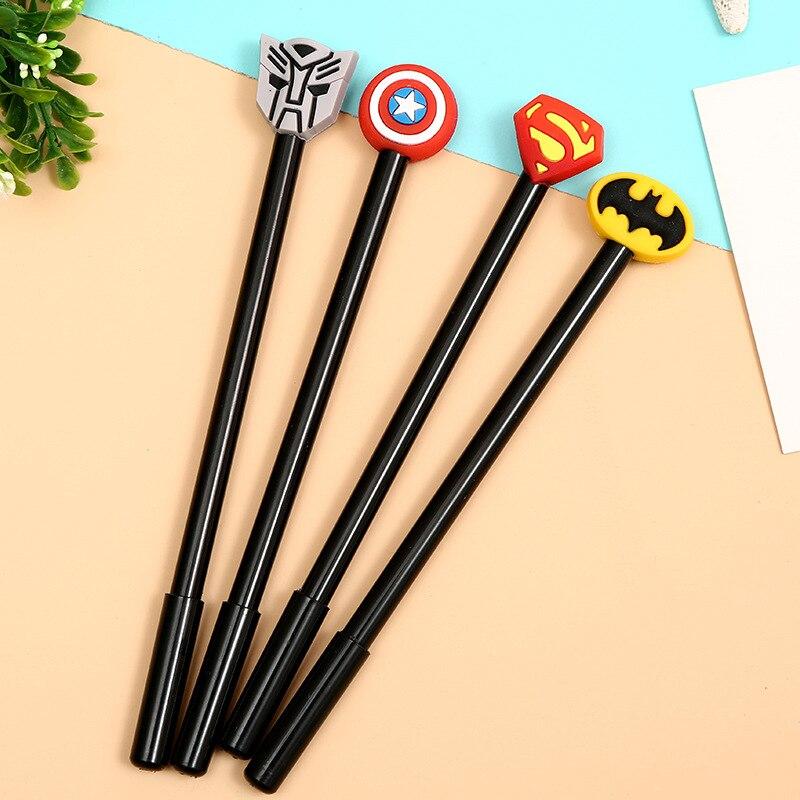 Arsmundi Superhero Gel Ink Gel Pens Avenger Superman Batman Captain America 0 5mm Stationery Supplies For Kids Writing Pens in Gel Pens from Office School Supplies