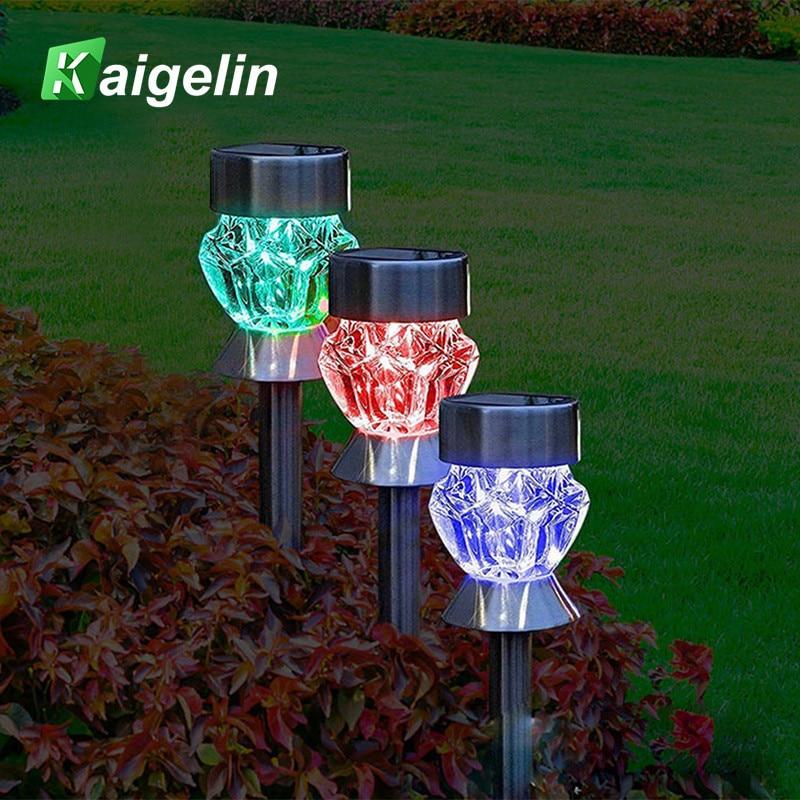 Kaigelin 2pcs/lot Solar LED Lawn Light RGB Color Changeable Lawn Lamp LED Dimmond Type Solar Lamps For Garden Landscape Lighting