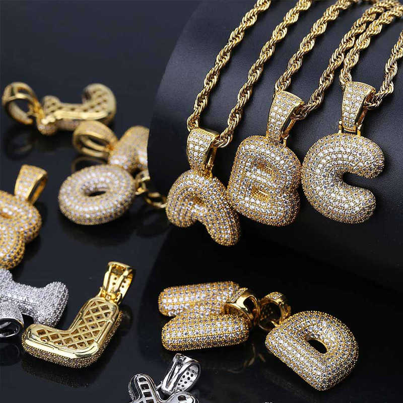 Custom A-Z 26 Letters Name Pendant Iced out Gold Silver Color Cubic Zircon Hip Hop Necklaces Jewelry Gift Drop Shipping