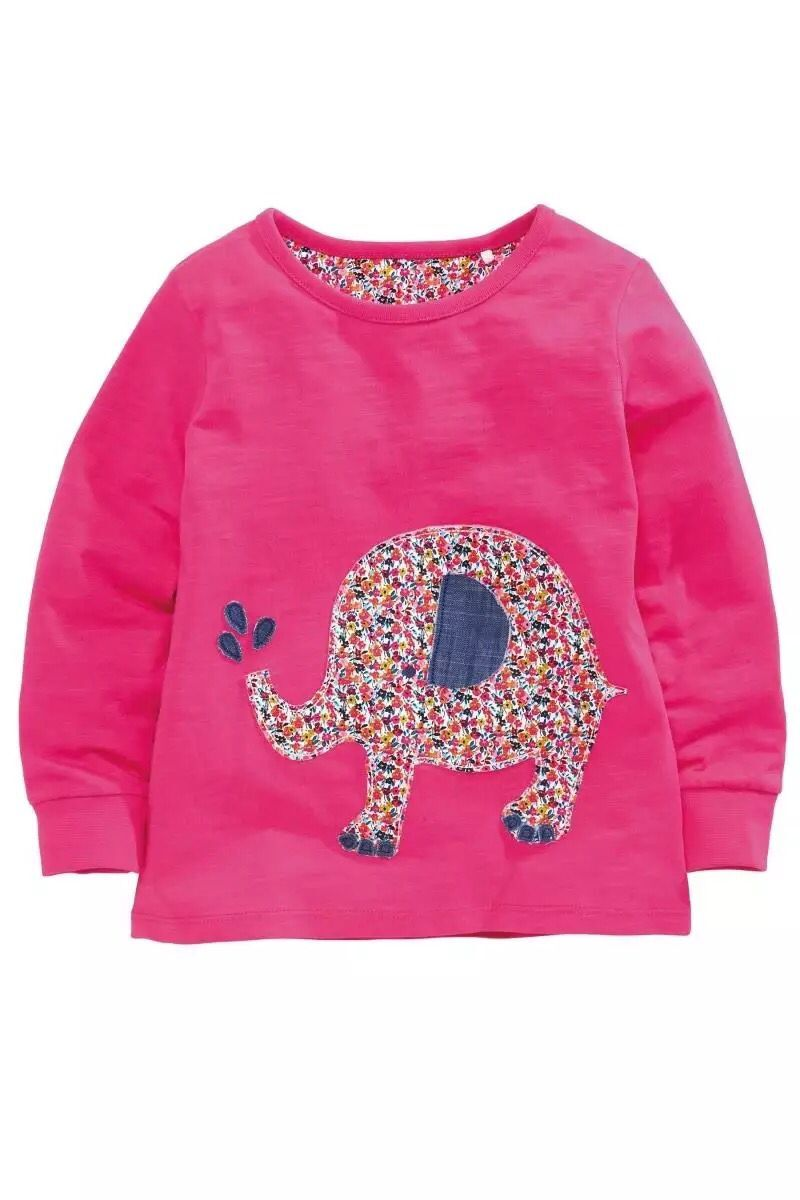 T-Shirts Sticker Long-Sleeve Girls Autumn Kids Cartoon Cloth