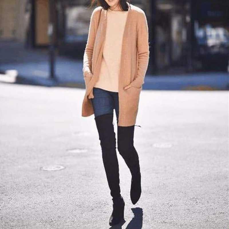 HEFLASHOR Artı Boyutu Moda Kadın Kış Uyluk Yüksek Çizmeler Faux Süet Deri Düz Yüksek Topuklu Kadın Diz Üzerinde Ayakkabı