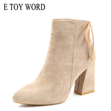 E TOY WORD Women Classics Ankle Boots Thick Heel Pointed Toe High Heels Zipper Fashion Martin Boots Casual Autumn Women Shoes недорого