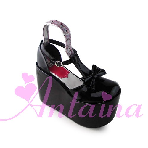 Princess sweet lolita gothic lolita shoes custom Antaina T lolita bow platform princess shoes 1390 cosplay princess sweet lolita gothic lolita shoes custom harajuku platform zipper style 9826 black