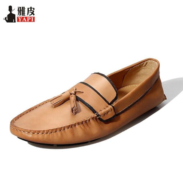 Cuero genuino transpirable para hombre borla mocasines conducción coche zapatos Casual de negocios Zapatos Hombre Slip On Fringe zapatos