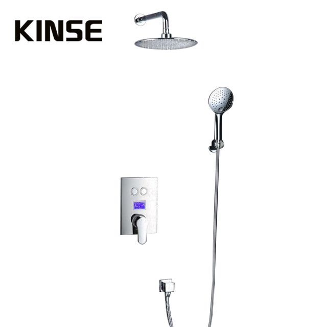 Intelligent Digital Display Bathroom Shower Set 8 Inch Rainfall Shower Head Bath Shower Mixer with Rain Hand Shower