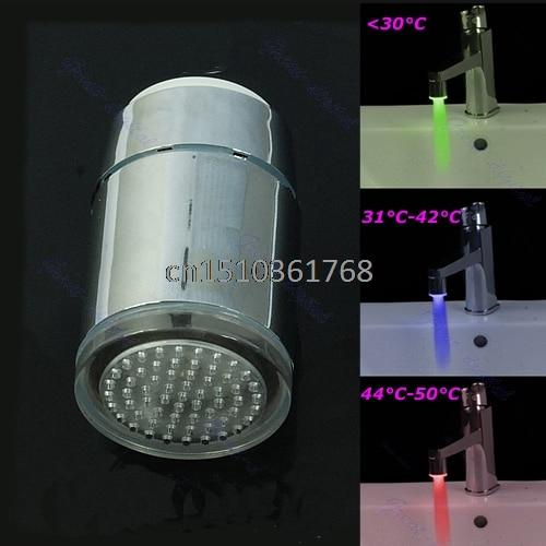 2pcs/lot 3 Color LED Filter Glow Bathroom Sink Basin Faucet Temperature Sensor Light Tap #Y05# #C05#