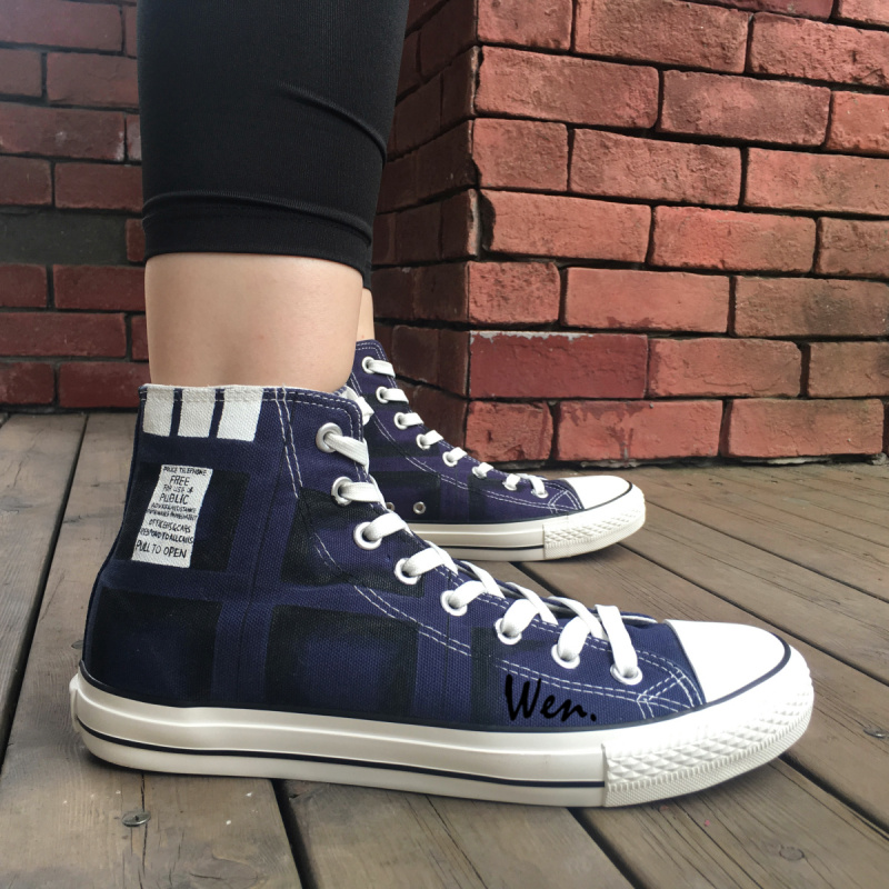 Wen Blue Hand Painted Shoes Design Custom Man Woman's Sneakers Tardis Doctor Who High Top Men Women's Canvas Sneakers wen blue hand painted shoes design custom shark in blue sea high top men women s canvas sneakers for birthday gifts
