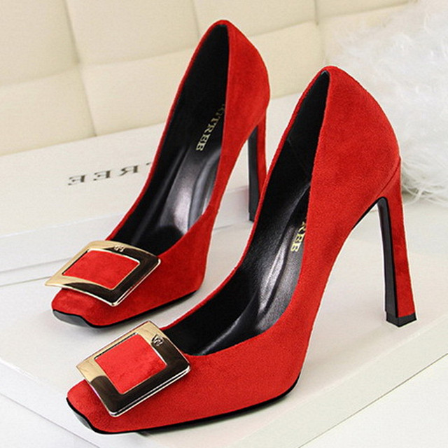 Sexy High Heels Red/Pink Wedding Bridal Shoes Women Pumps Square Toe Super High Heel Party Shoes Lady Stilettos Office Shoes 39