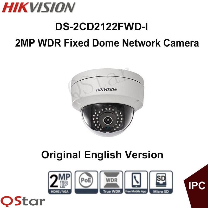 Hikvision Original English Version DS-2CD2122FWD-I 2MP WDR Fixed Dome Network Camera IP Camera 1080P POE 30m CCTV Camera free shipping in stock new arrival english version ds 2cd2142fwd iws 4mp wdr fixed dome with wifi network camera