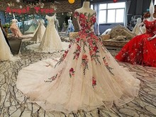 2018 Angel Tree Brida Luxury Vintage Flowers Lace Wedding Dress A-Line Appliques Crystal Bridal Gown Vestido De Noiva