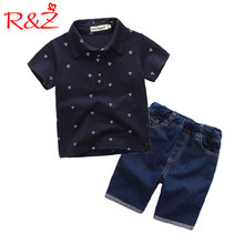 R&Z childrens suit 2019 summer new boy gentleman clothing lapel print T-shirt denim shorts pants two-piece