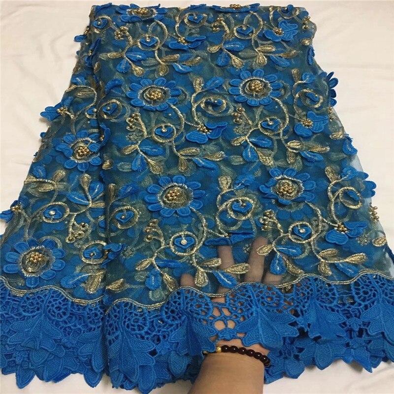 Nouveau design bleu brodé dentelle perlée tissu de haute qualité africain français tulle dentelle tissu cordon lacets pour les femmes robe ZQ11-3