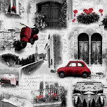 Industrial Vintage Building Wall Papers Home Decor Personalized Red Car Wallpapers Roll for Shops Bar Walls Mural Contact Paper