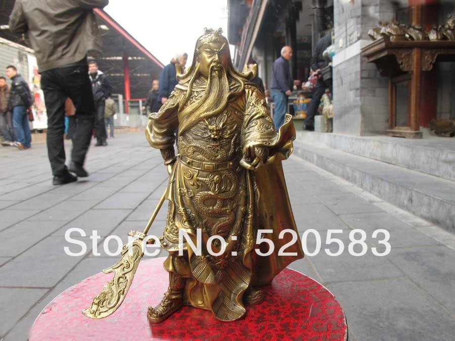 Chinese Folk Classic Brass Carved Dragon Guan Gong Guanyu Warrior Statue Fast