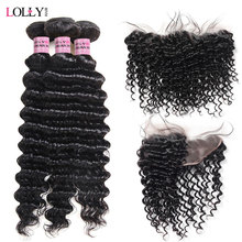 Lolly Hair Deep Wave Bundles With Frontal 13X4 Inch Peruvian Hair Bundles With Frontal Closure Free Part Human Hair Non Remy