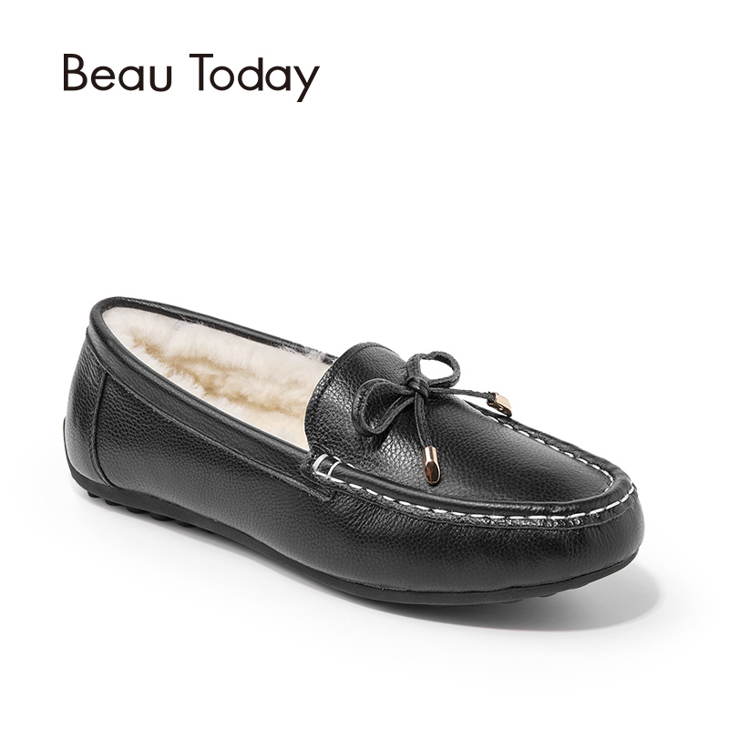 BeauToday Fur Loafers Women Fashion Shoes Bowknot Top Brand Genuine Cow Leather Slip On Wool Flats Handmade 27807 siketu sweet bowknot flat shoes soft bottom casual shallow mouth purple pink suede flats slip on loafers for women size 35 40