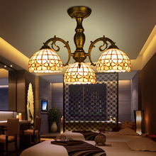 Vintage 8 3 Bulbs Zinc Alloy Mediterranean Sea LED Tiffany lustres shell lamp for home retro restaurant chandelier bedroom