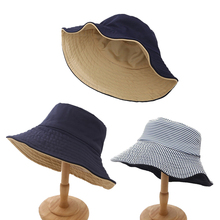 Summer Women Hats 2019 Sweet  Sun Visor Fresh Striped Large Brim Floppy Fold Cloth Black stripe