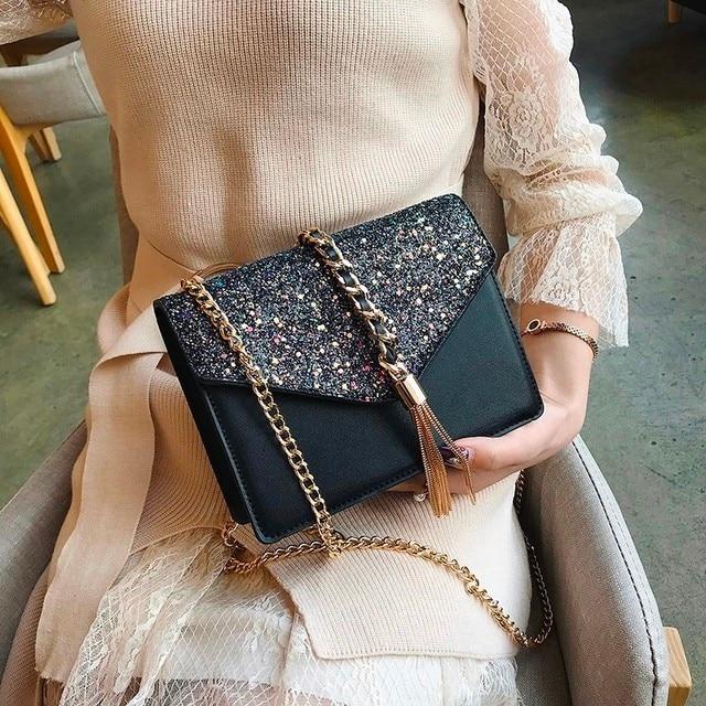 Sequin Tassel Shoulder Bag Women Handbags Sac Casual Fashion Clutch Totes Messenger Bags Evening Crossboday Pu Leather 2018 New