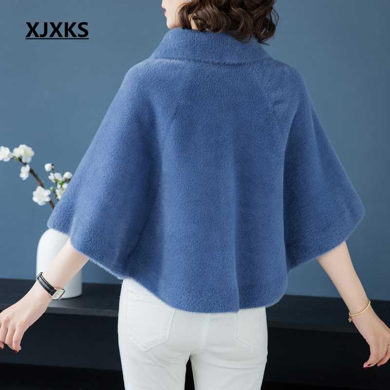 XJXKS Новинка 2019 женская зимняя одежда кардиган свитер мода кашемир рукав «летучая мышь» лацканы меховые свитера женские свитера пальто