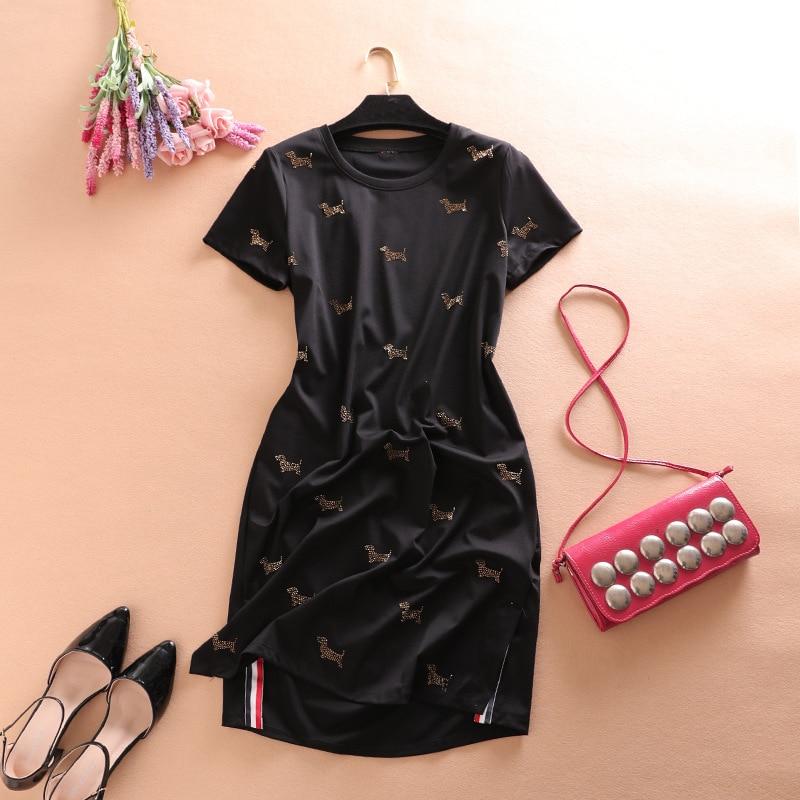 Côté rayé Vintage robe 2018 printemps été haut de gamme coton manches courtes perles a-ligne Split femmes robes