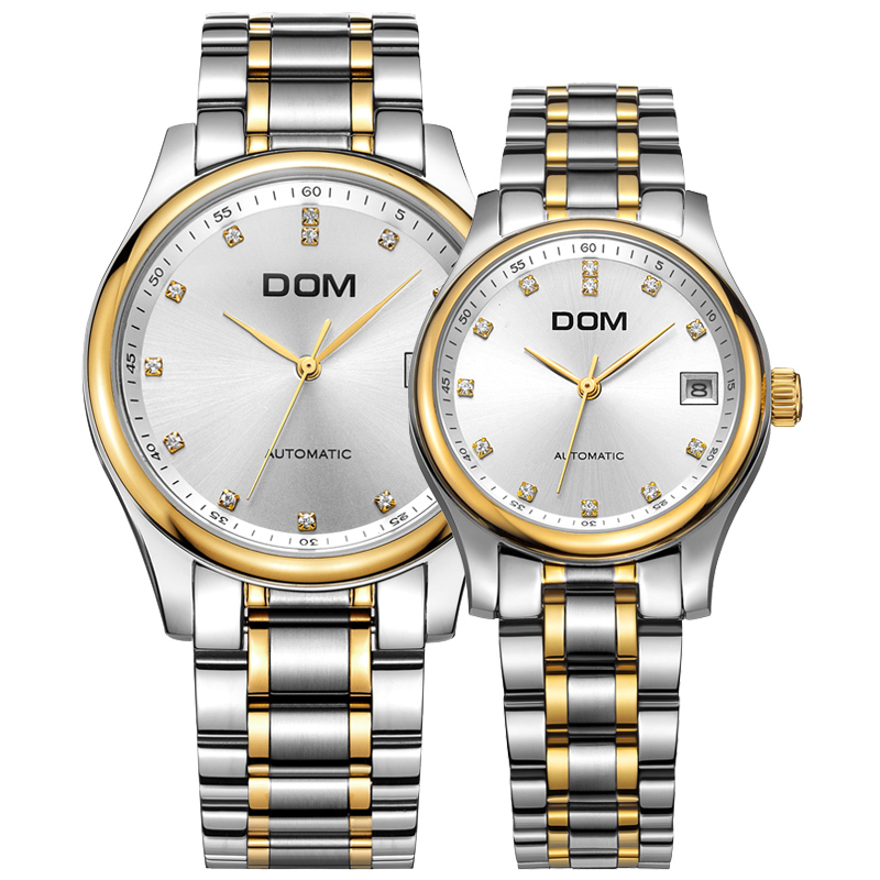 DOM Lover's clock mechanical Couples watch brand waterproof stainless steel Couples watches crystal hombre wrist watch M-95G-95 pechoin 95g