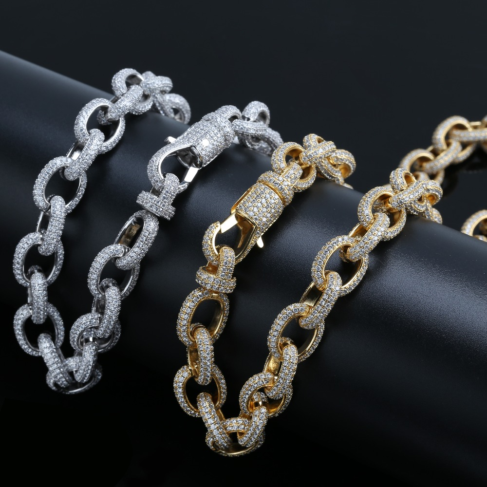 15mm Width Personalized Mens Twisted Link Chain Necklace Iced Out Bling AAA CZ Stones Hip Hop